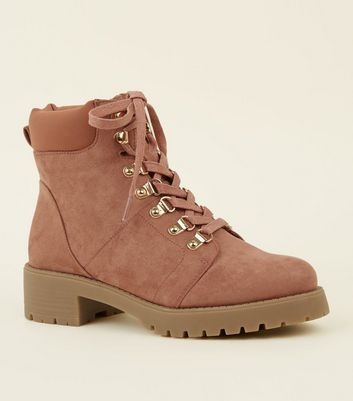 Girls Pink Suedette Hiker Boots | New Look