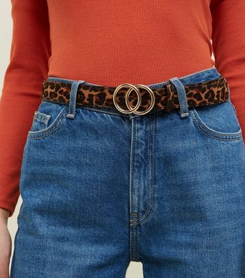 Tan Leopard Print Circle Buckle Belt