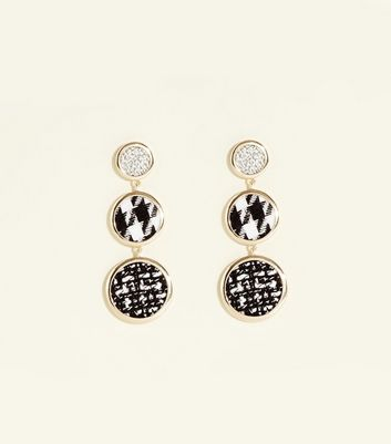 Gold Houndstooth Triple Disc Earrings