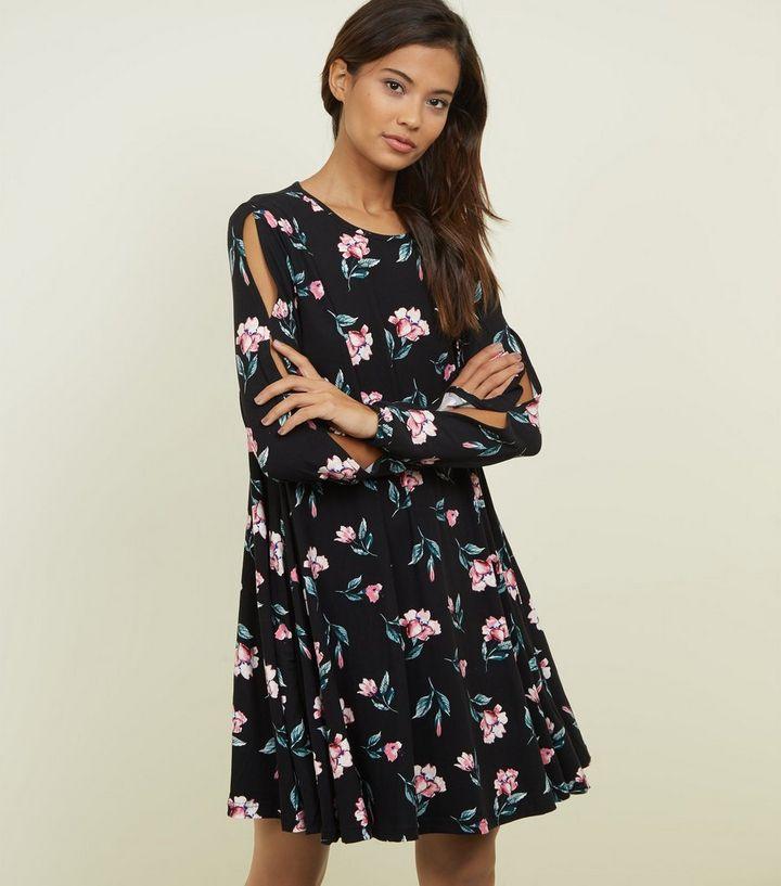 32fd9ef6ea1b Blue Vanilla Black Floral Split Sleeve Dress   New Look