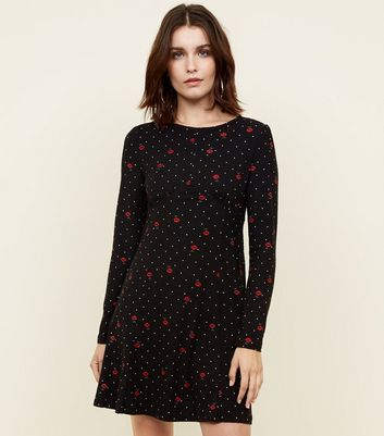 Blue Vanilla Black Polka Dot Rose Print Swing Dress