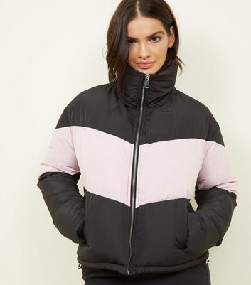 Pink Vanilla Black Chevron Block Puffer Jacket