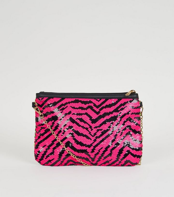 f305fad97da Pink 2 Way Sequin Clutch Bag | New Look