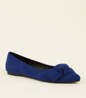 Wide Fit Blue Suedette Knot Bow Pumps
