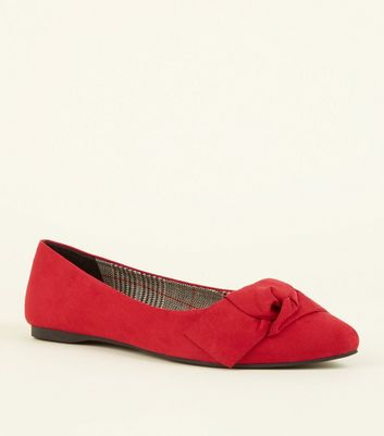 Wide Fit Red Suedette Knot Bow Pumps