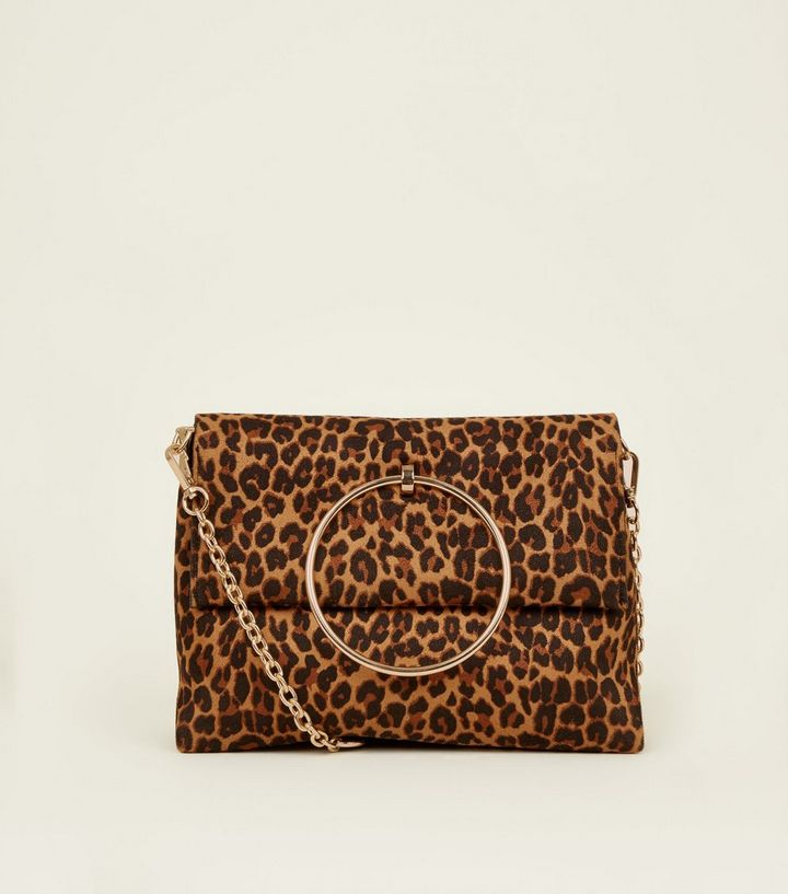 Brown Leopard Print Suedette Ring Handle Bag  5d50bd2b96117