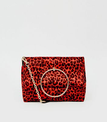 Red Leopard Print Ring Handle Bag