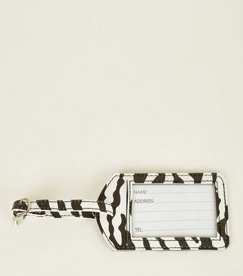 Black Zebra Print Luggage Tag