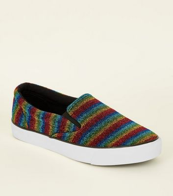 Rainbow Sparkle Slip On Trainers