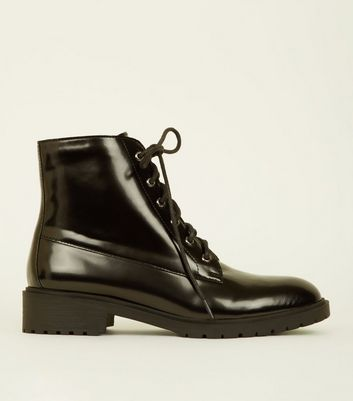 Girls Black Patent Lace Up Boots