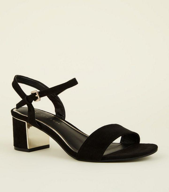 cfa2a3e1e1a Wide Fit Black Suedette Metal Mid Block Heels