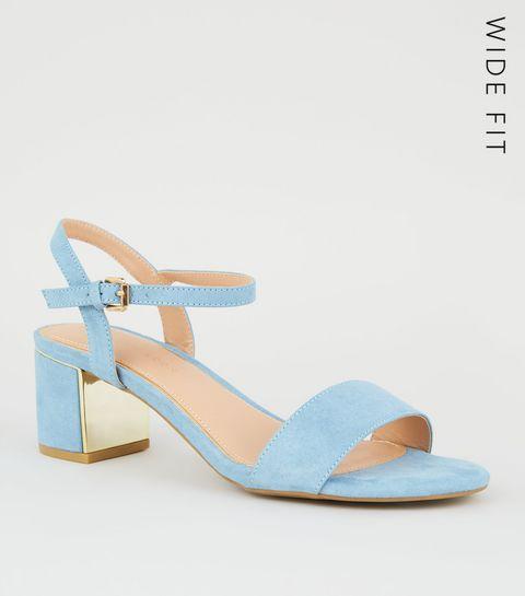 fe492e555af4 ... Wide Fit Pale Blue Suedette Metal Mid Block Heels ...