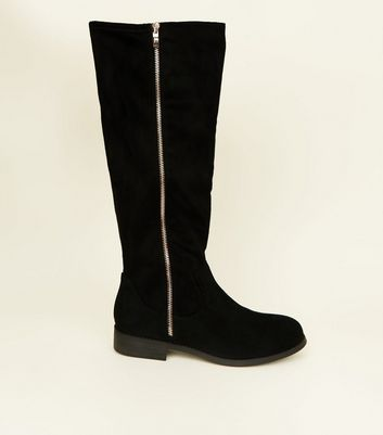 Wide Fit Black Zip Side Knee High Flat Boots