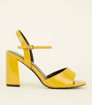 Wide Fit Mustard Patent Flared Heel Sandals