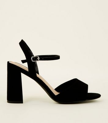 Wide Fit Black Suedette Flared Heel Sandals