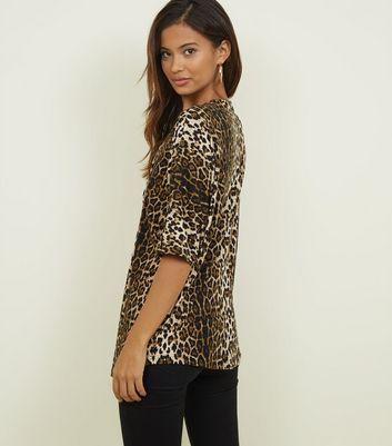 Blue Vanilla Brown Leopard Print Half Zip Top New Look