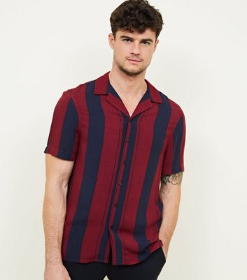 Burgundy Stripe Short Sleeve Shirt