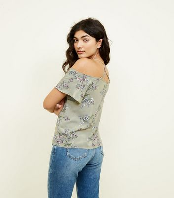 Apricot Green Floral Cold Shoulder Top New Look