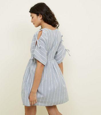 Apricot Blue Pinstripe Tie Sleeve Mini Dress New Look