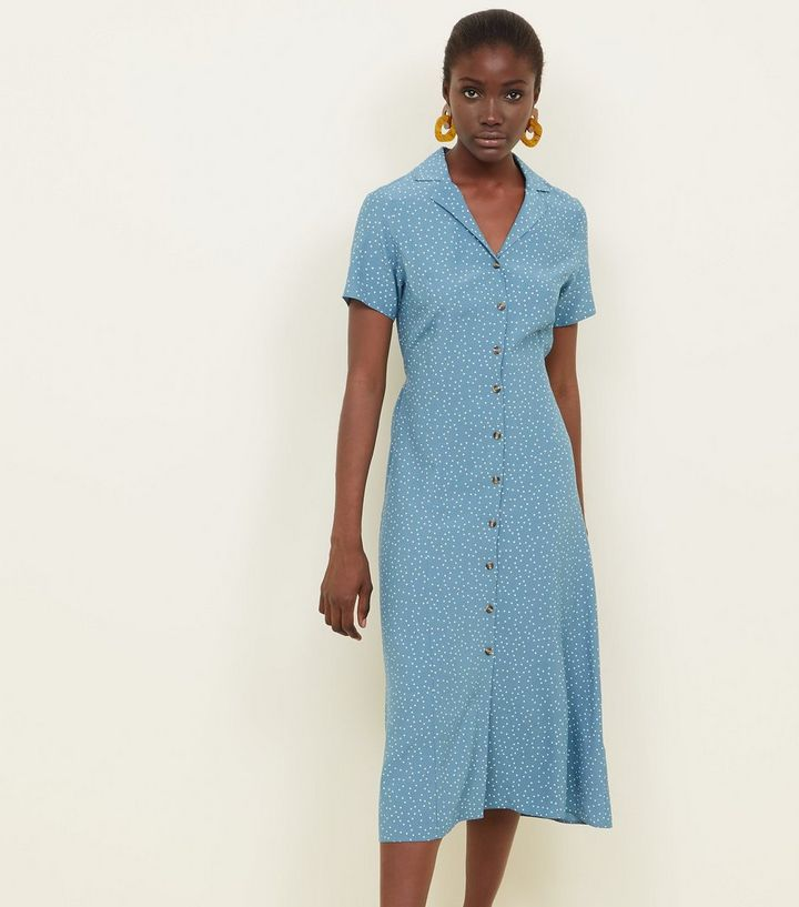 official images outlet preview of Blue Spot Print Button Through Midi Dress | New Look