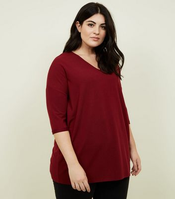 Curves Burgundy Fine Knit Jumper