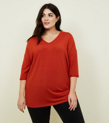 Curves Orange Fine Knit Jumper