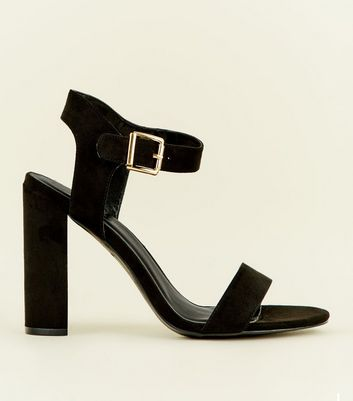 Black Suedette Two Part Block Heels