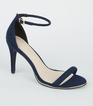 Navy Comfort Suedette Metal Trim Stiletto Sandals