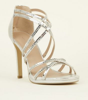 Silver Shimmer Sequin Strap Stiletto Sandals