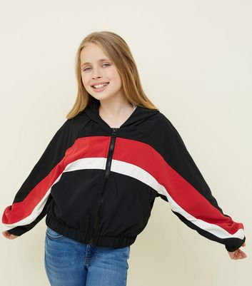 Girls Black Colour Block Windbreaker Jacket