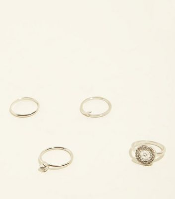 4 Pack Silver Filigree Stacking Rings by New Look