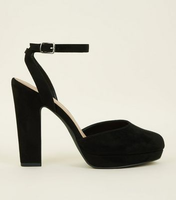 Black Suedette Two-Part Platform Courts