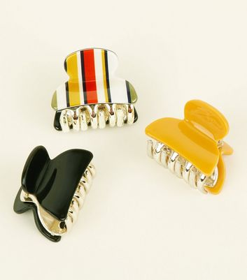 3 Pack Black Mustard and Stripe Bulldog Clips New Look