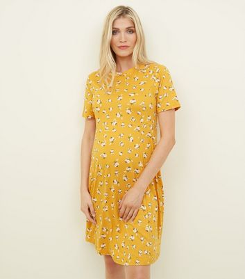 Maternity Yellow Floral Soft Touch Skater Dress