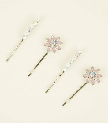 4 Pack Pink Flower Gem and Faux Pearl Hair Slides
