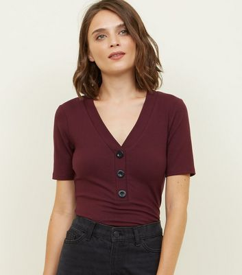 Burgundy Contrast Button Front Ribbed T-Shirt