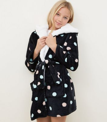 Girls Black Spot Print Borg Lined Robe