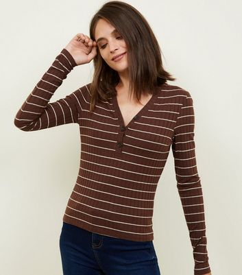 Brown Stripe Ribbed Long Sleeve Button Neck T-Shirt