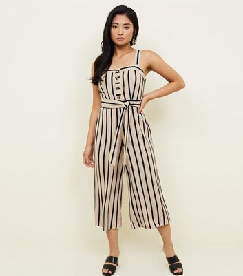 Petite Brown Stripe Button Front Culotte Jumpsuit