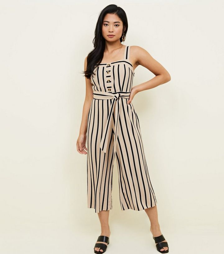 c5e75dbdb856 Petite Brown Stripe Button Front Culotte Jumpsuit