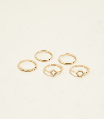 5 Pack Gold Diamanté Stacking Rings