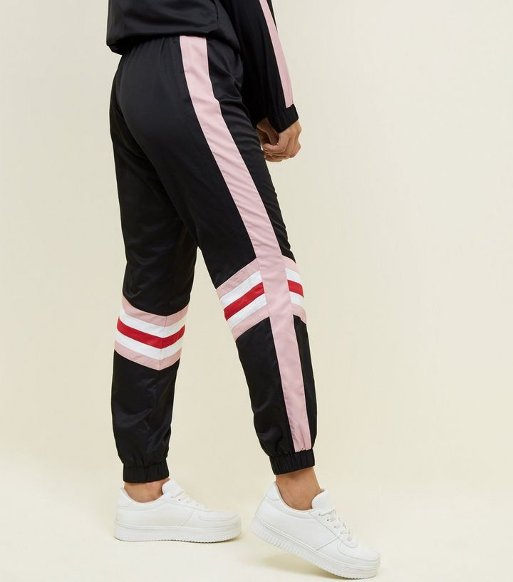 fc0f54f80277 Black Colour Block Cuffed Joggers | New Look