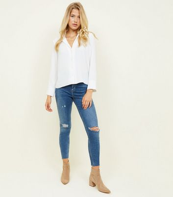 Tall Blue High Rise Ripped Dahlia Skinny Jeans