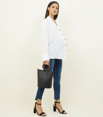 Maternity Off White Crepe Revere Collar Boxy Shirt