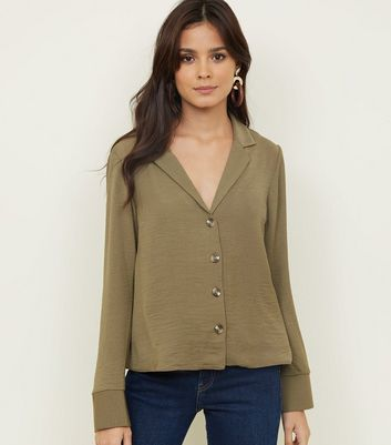 Tall Khaki Revere Collar Boxy Shirt