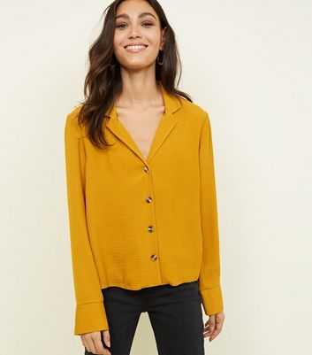 Tall Mustard Revere Collar Boxy Shirt