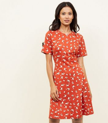 Tall Rust Floral Jersey Dress