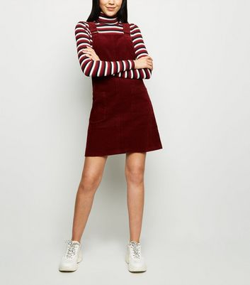 Tall Burgundy Corduroy Pocket Front Pinafore Dress