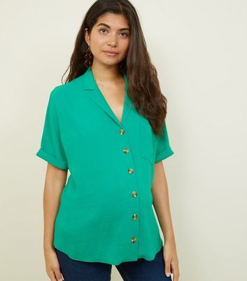 Maternity Green Revere Collar Nursing Shirt