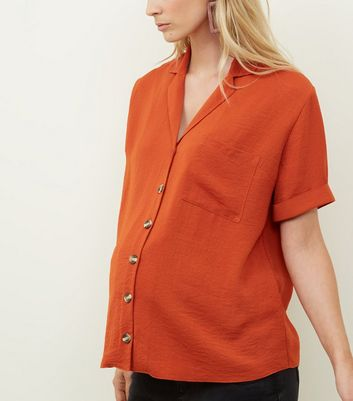 Maternity Orange Revere Collar Nursing Shirt